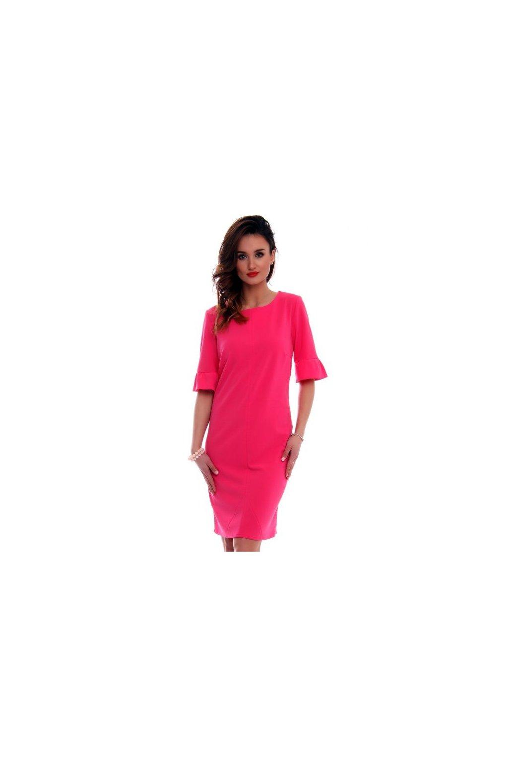 88d0a33f73bf Elegantné šaty s volánovým rukávom CMK561 tmavoružové - Tentation.sk