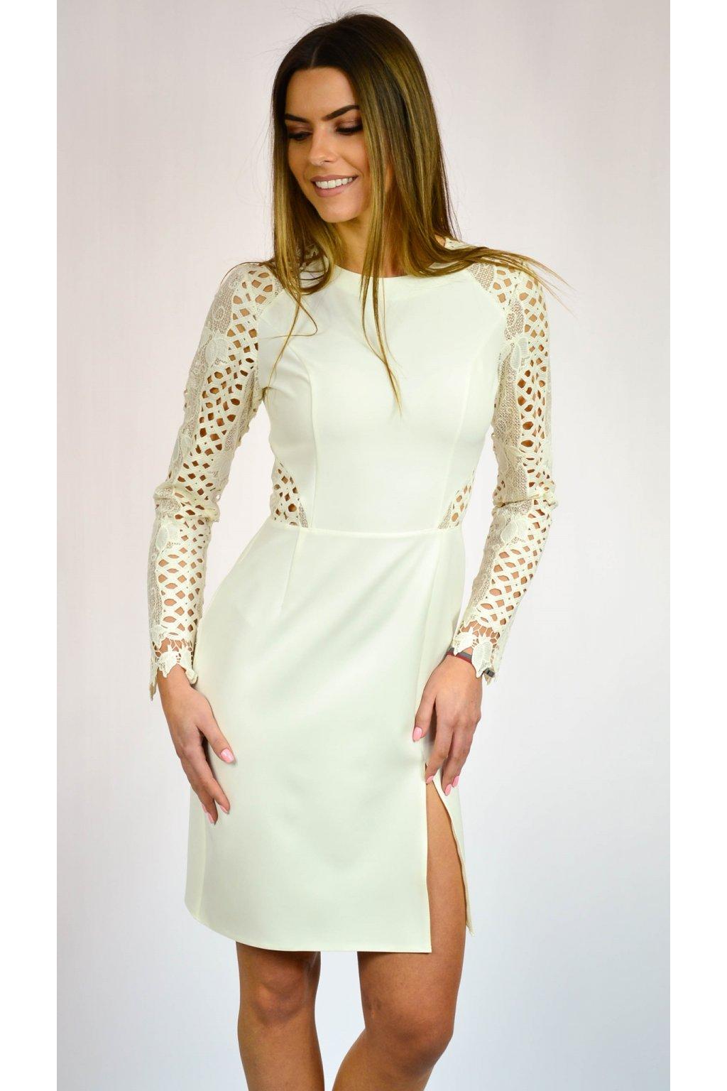 3e2ca0c7c268 Elegantné šaty s čipkou 7094 žlté - Tentation.sk