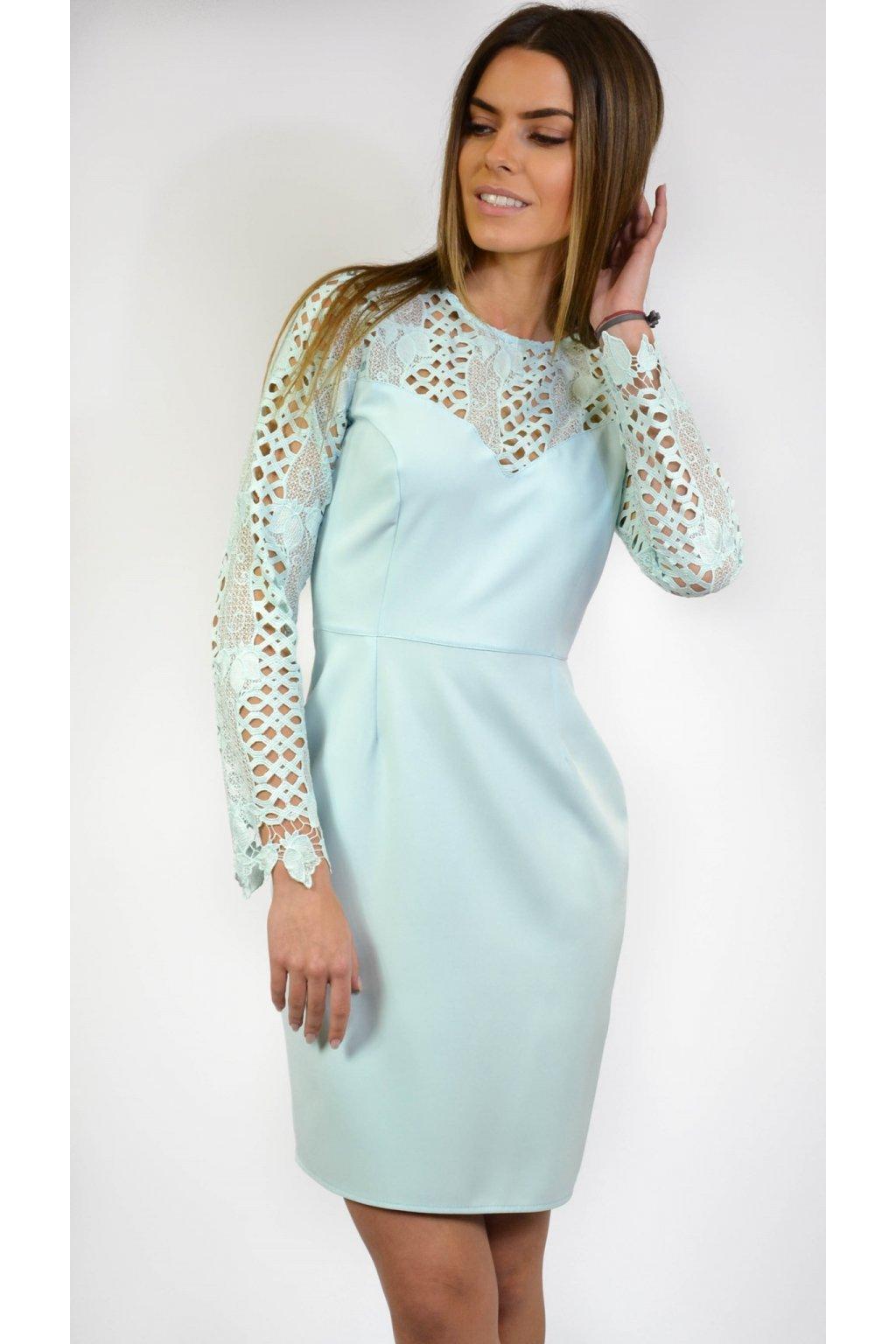 6bbe699b5 Elegantné šaty s čipkou 7000 tyrkysové - Tentation.sk