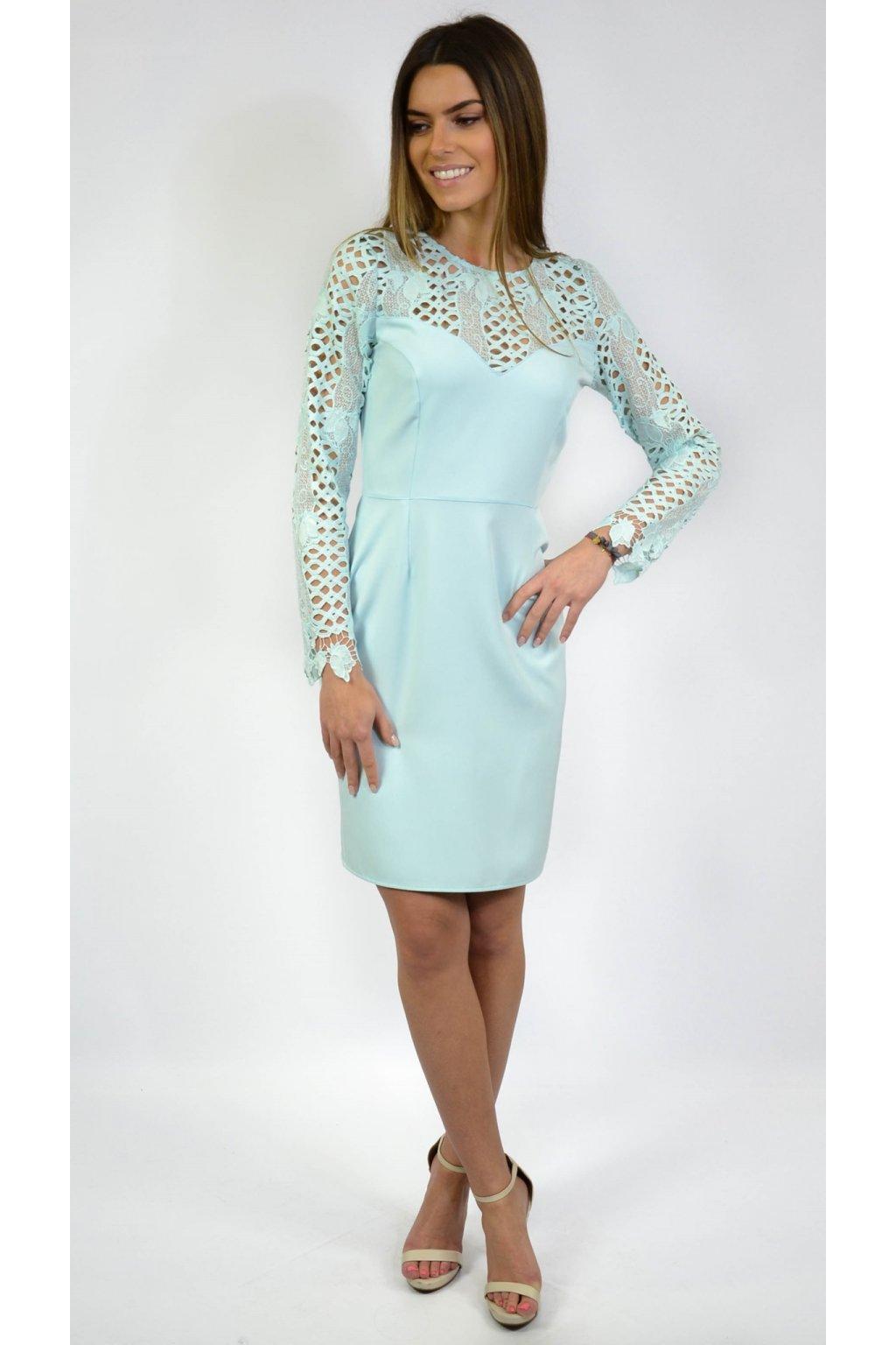 fc3f8544d954 Elegantné šaty s čipkou 7000 tyrkysové - Tentation.sk