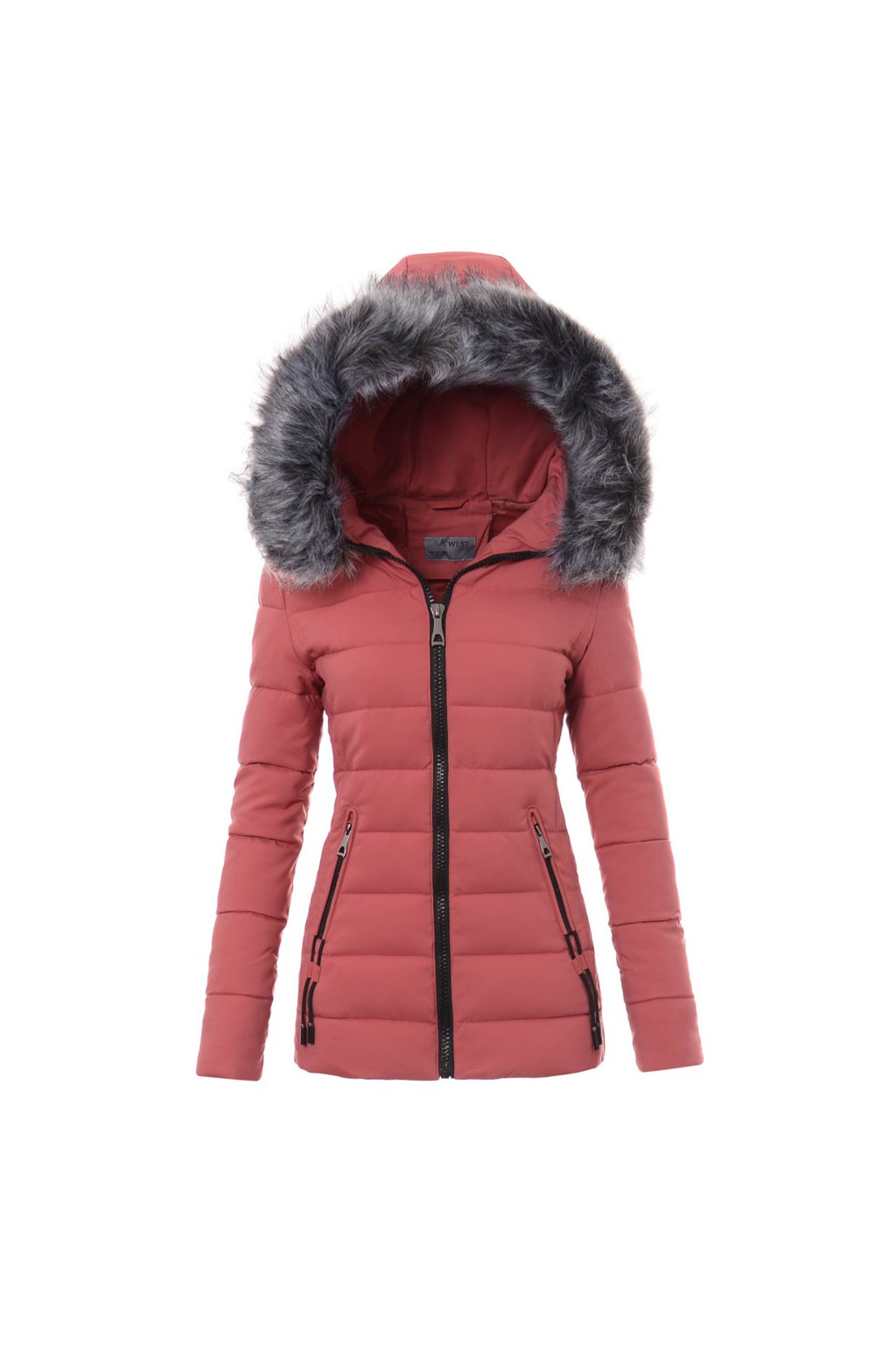 Dámska zimná bunda s kapucňou 3461 ružová
