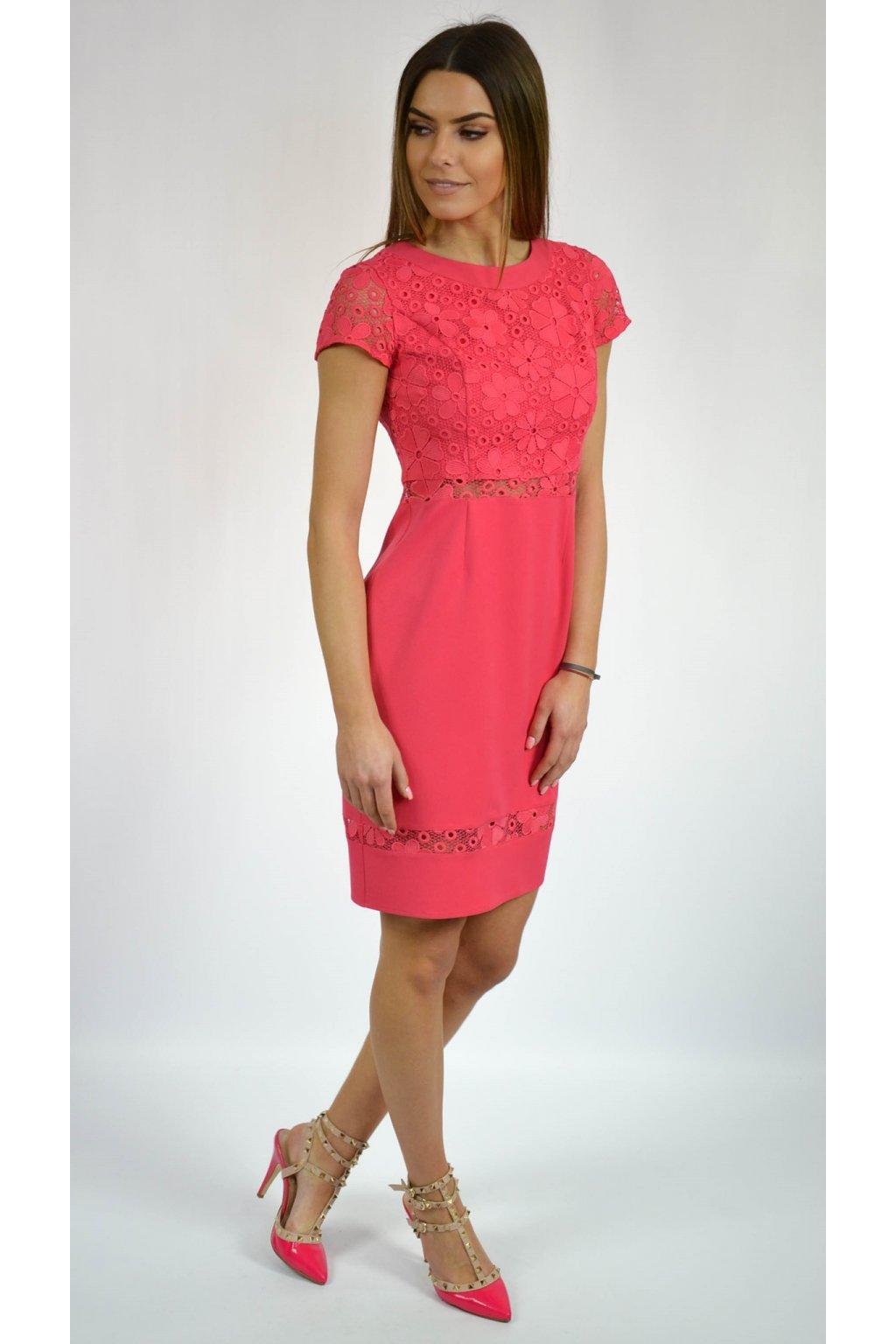 89d473f68676 Elegantné dámske šaty s čipkou 7078 ružové-Tentation.sk