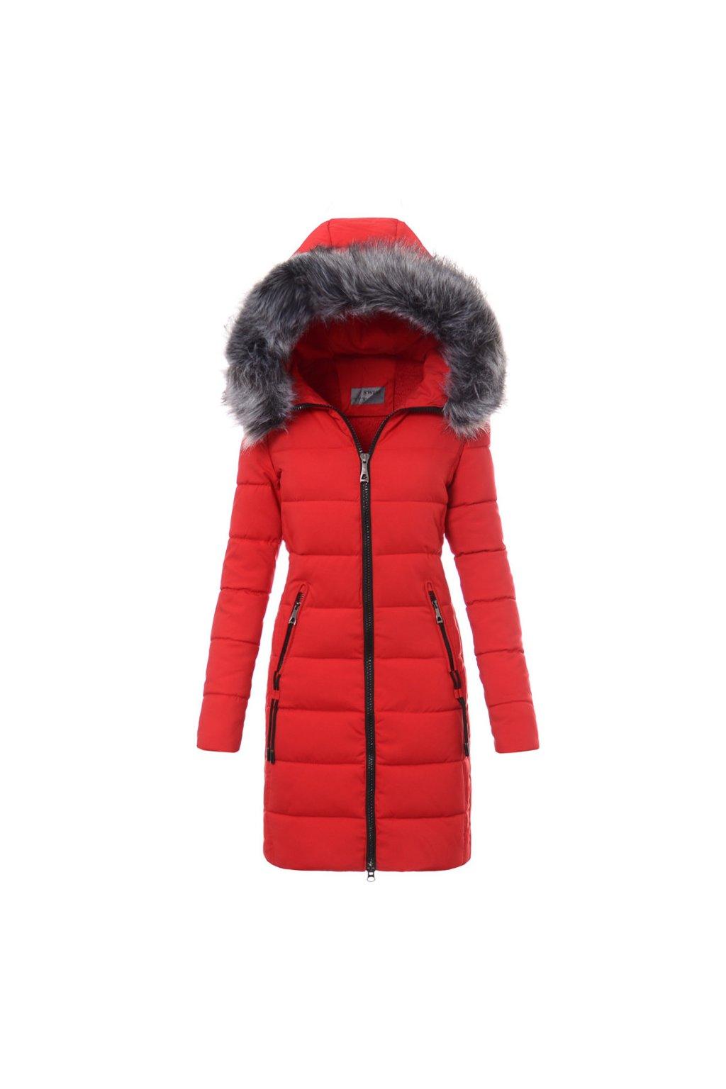 Dámska dlhá zimná bunda s kapucňou 3480 červená