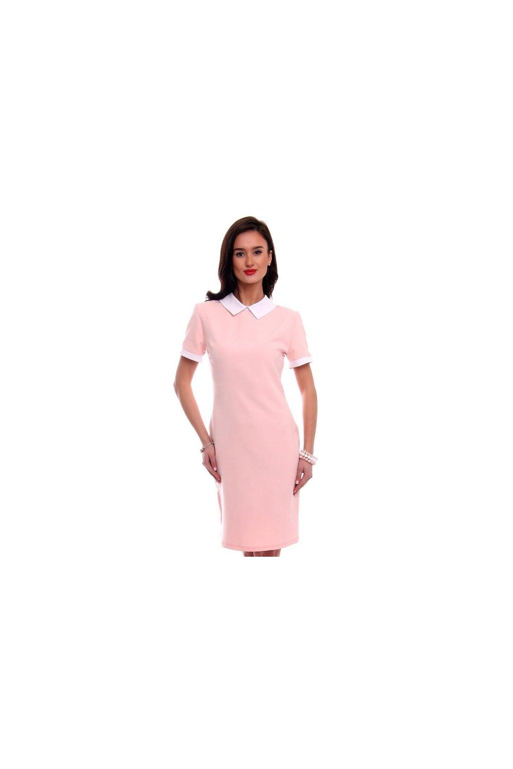 Elegantné šaty s golierikom CM 570 ružové -Tentation.sk c524394d7e