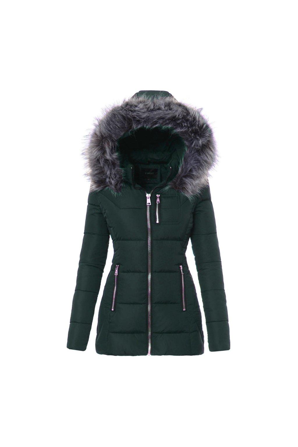 Dámska zimná bunda s kapucňou 3467 zelená