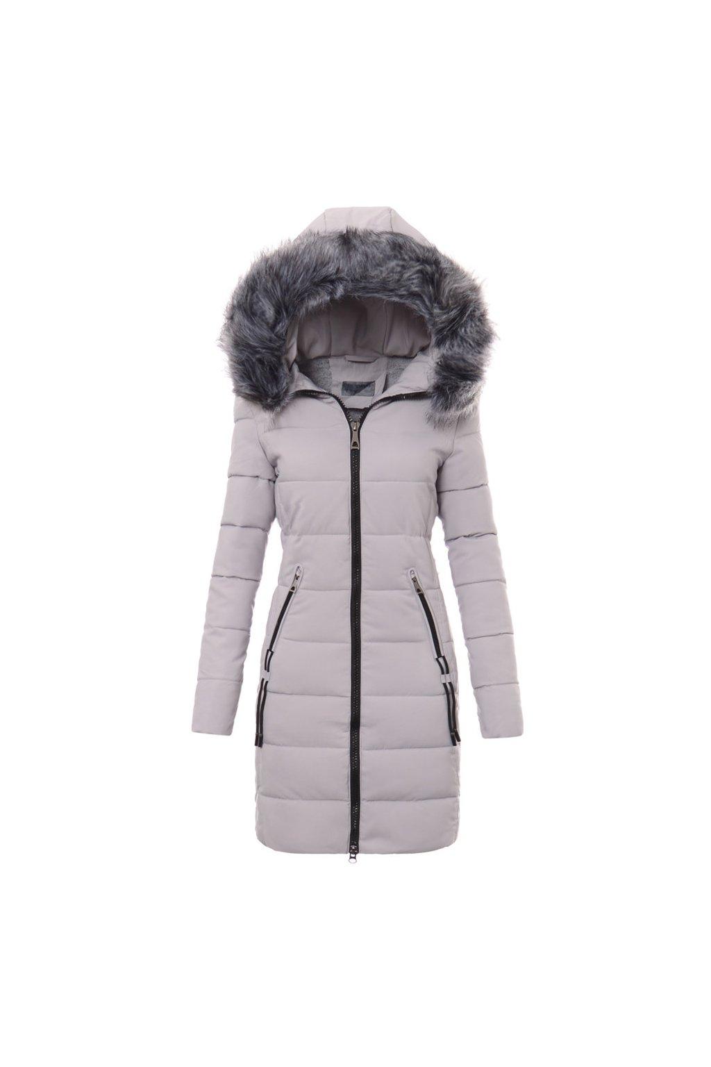 Dámska dlhá zimná bunda s kapucňou 3484 šedá