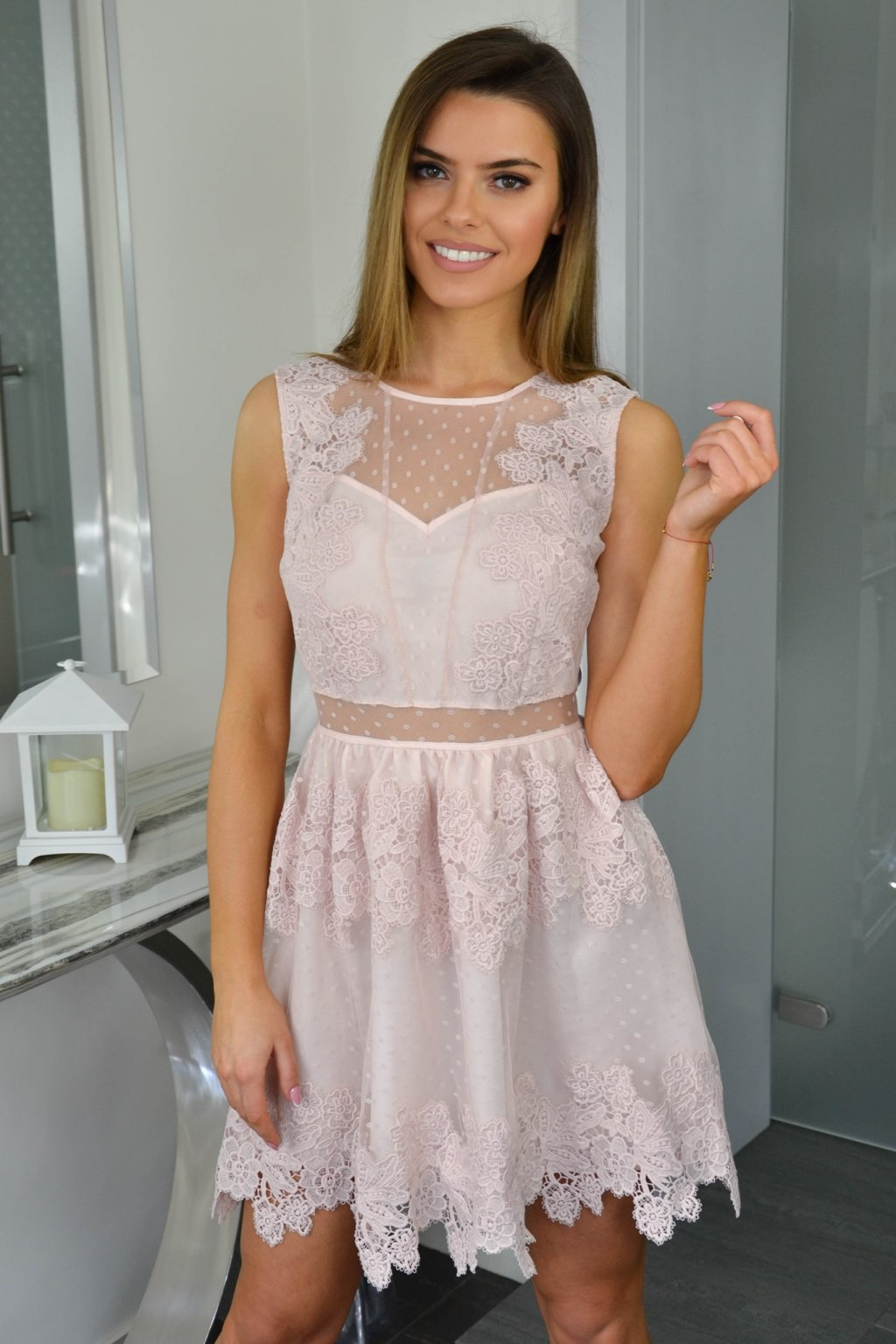 3eb418d7527e Dámske čipkované šaty 7456 ružové - Tentation.sk