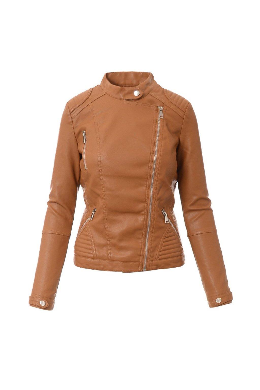 Dámska kožená bunda 4091 hnedá