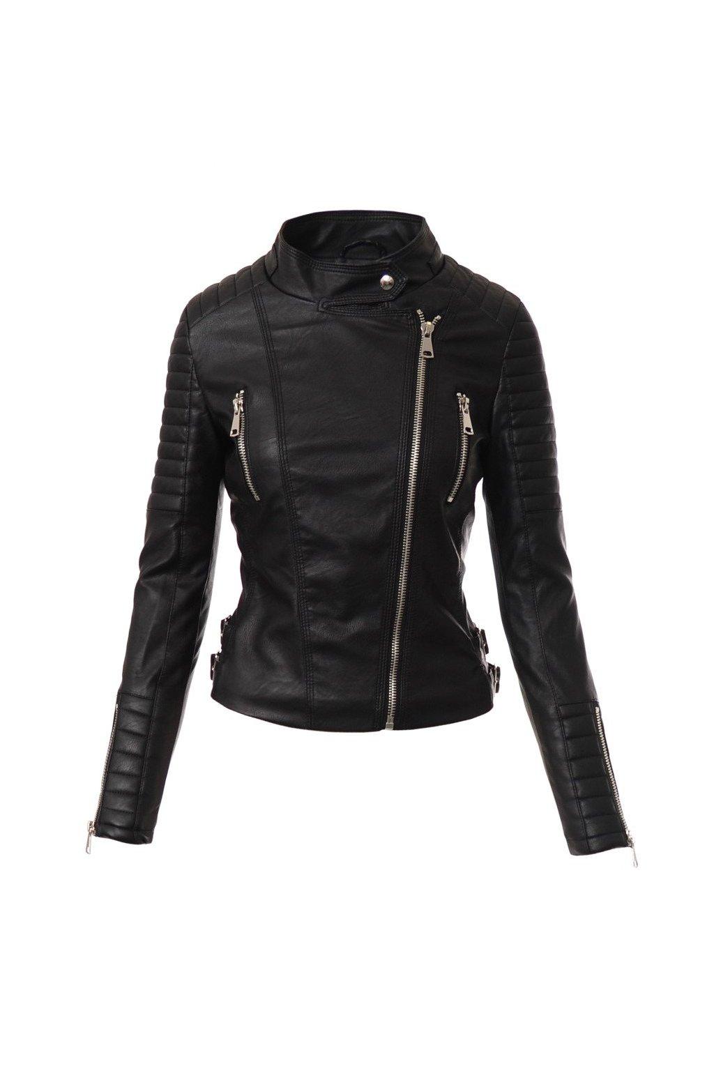 Dámska kožená bunda biker 4111 čierna