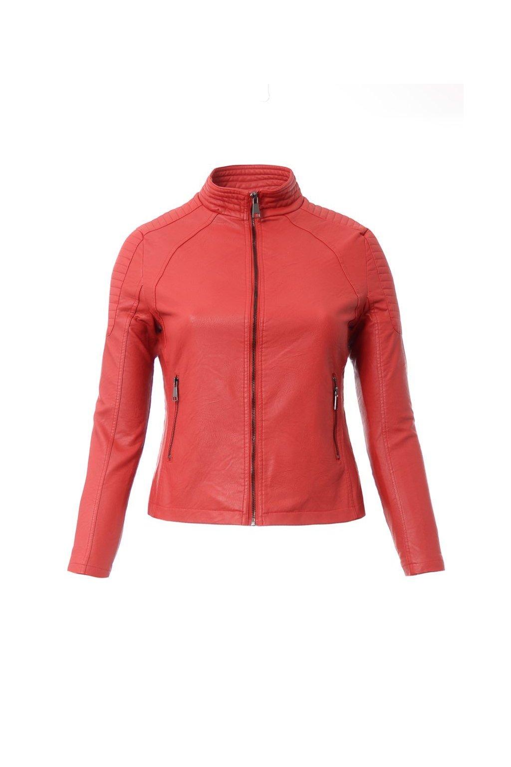 Dámska kožená bunda 4022 červená