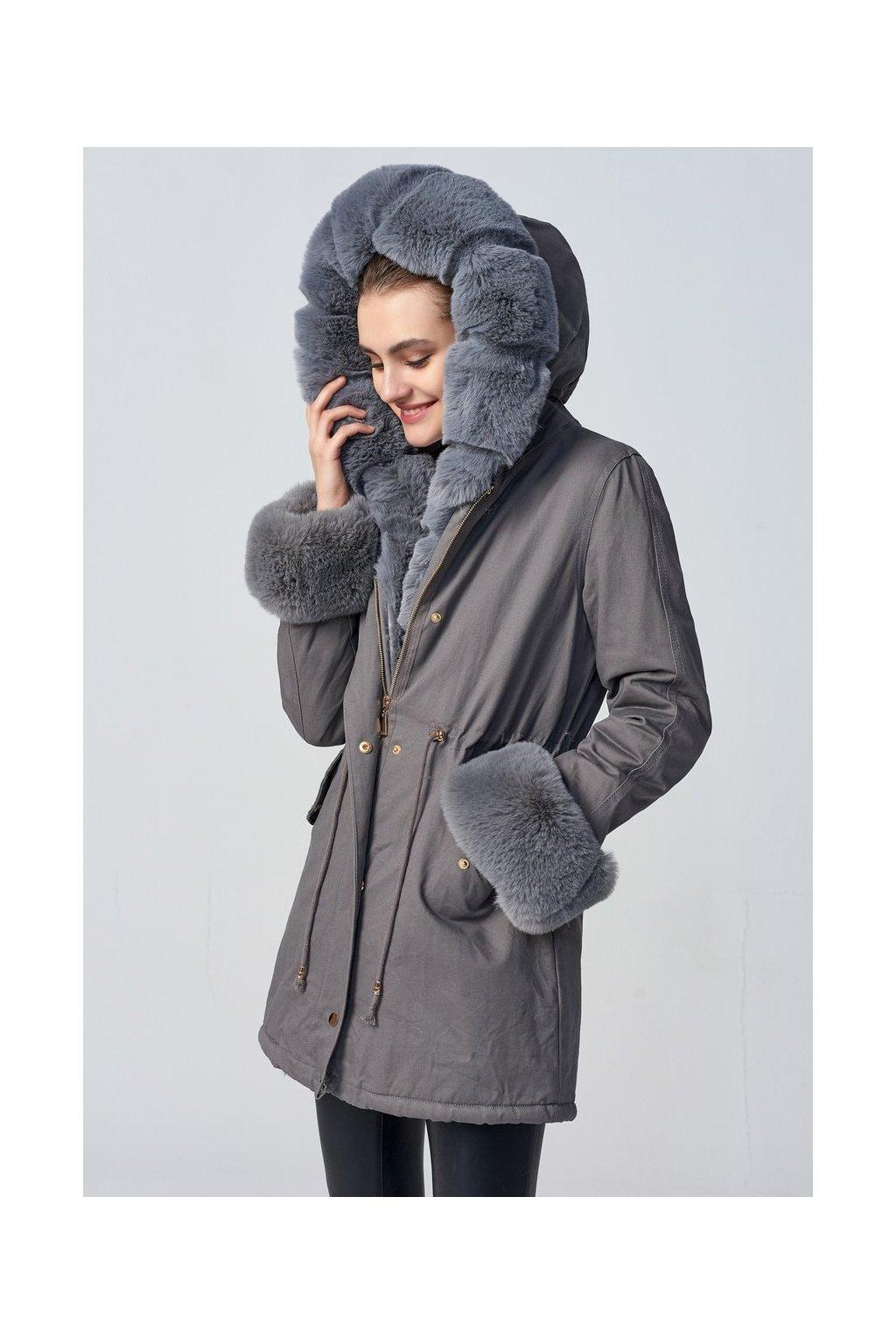 Dámska zimná bunda parka s kožušinou 3825 šedá