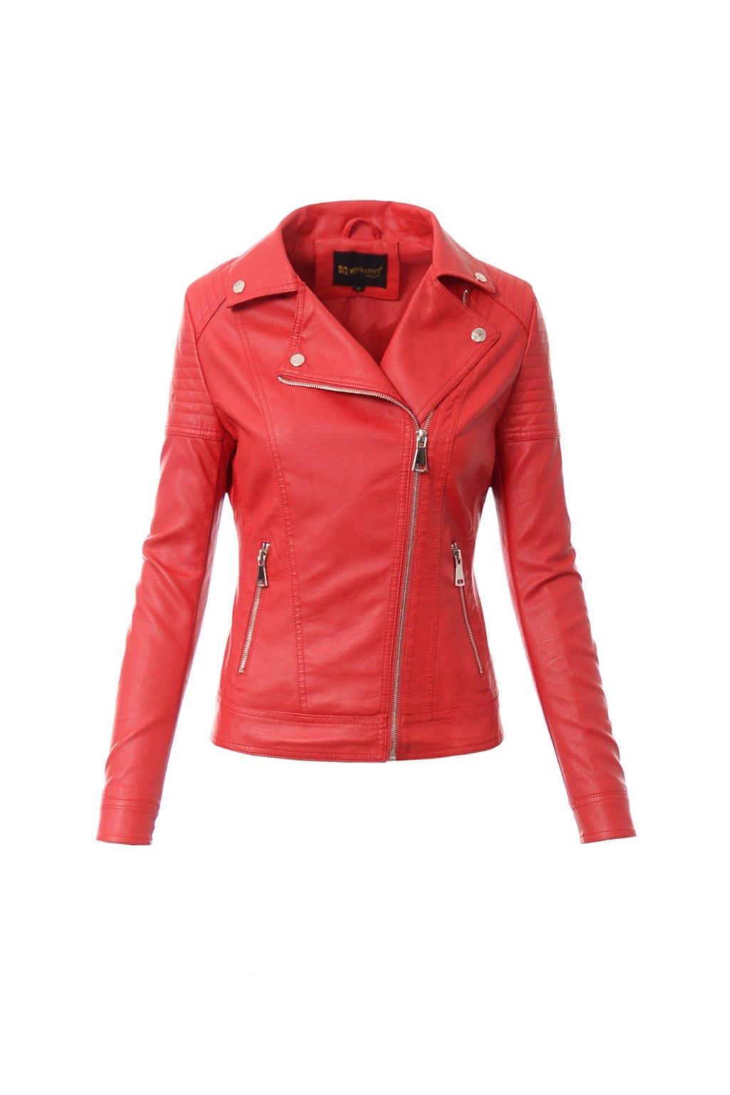 Dámska kožená bunda biker 4036 červená