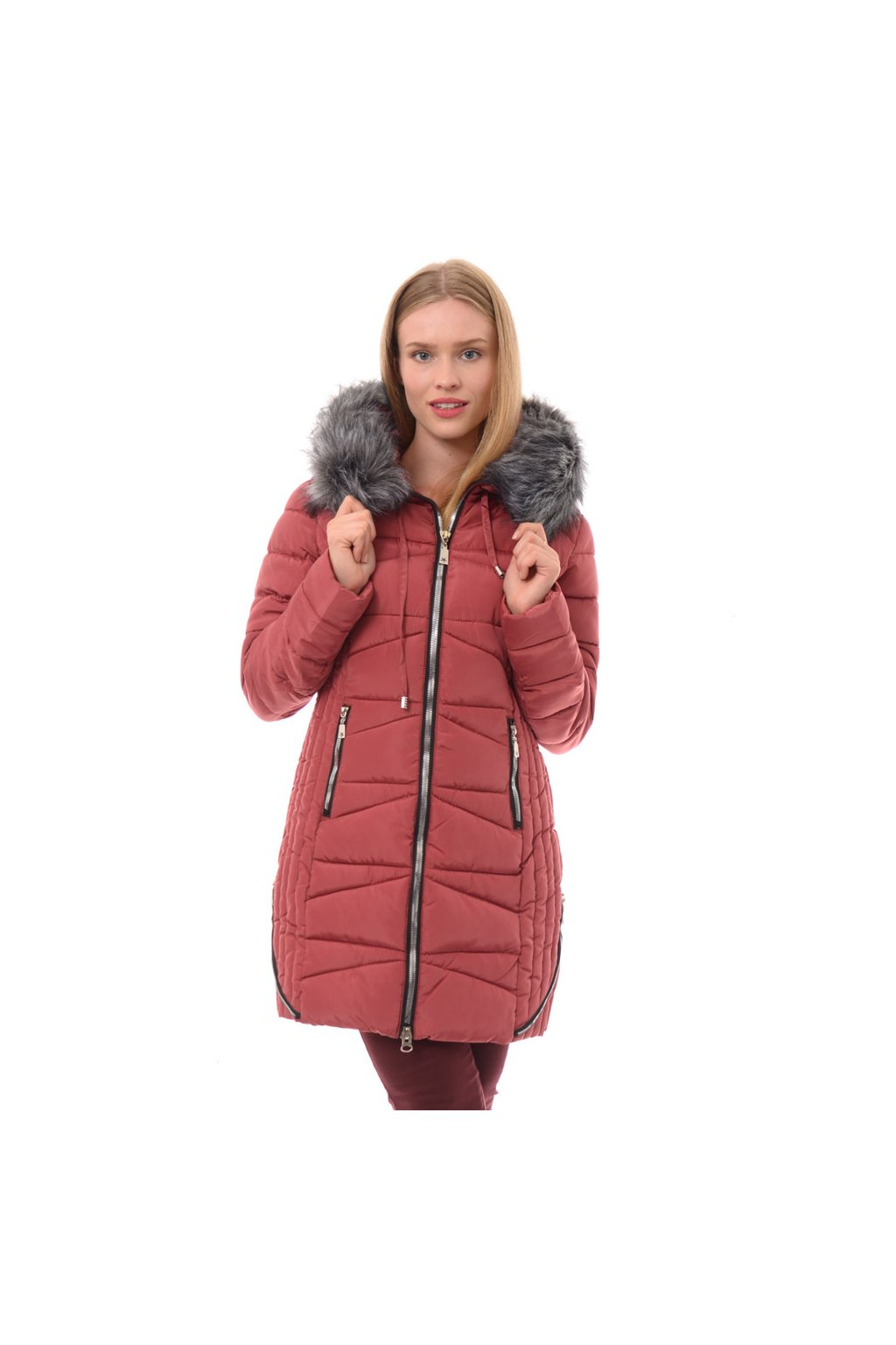 Dámska zimná bunda s kožušinou 3531 ružová