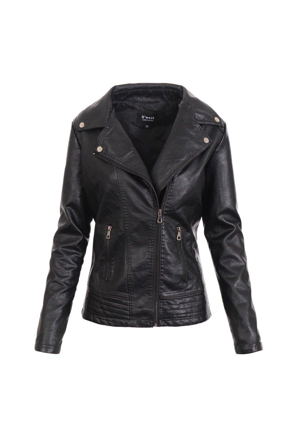 Dámska kožená bunda 4727 čierna