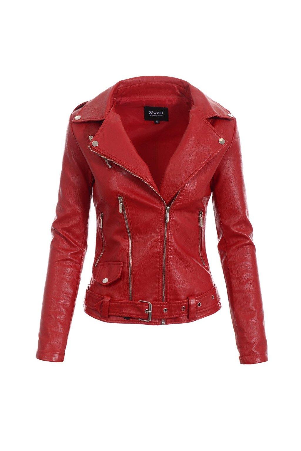 Dámska kožená bunda 4726 červená