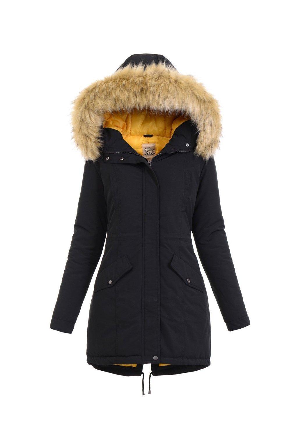 Dámska zimná bunda parka s kapucňou 4791 čiernožltá