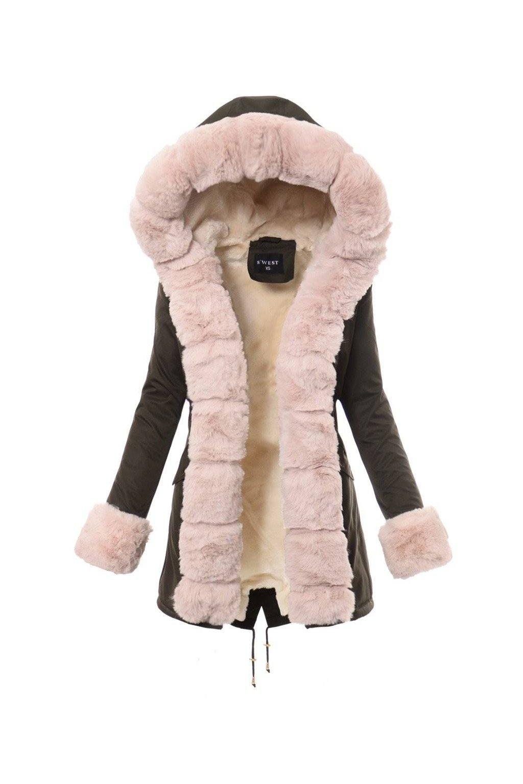 Dámska zimná bunda parka s kožušinou 4854 kaki