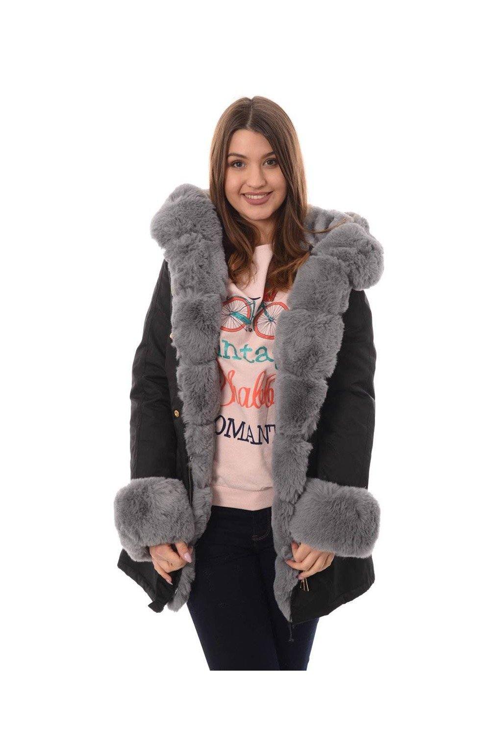 Dámska zimná bunda parka s kožušinou 4858 čierna