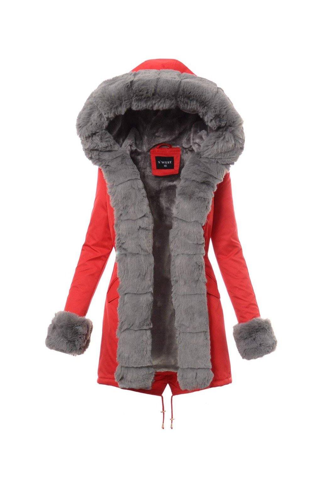 Dámska zimná bunda parka s kožušinou 4862 červená