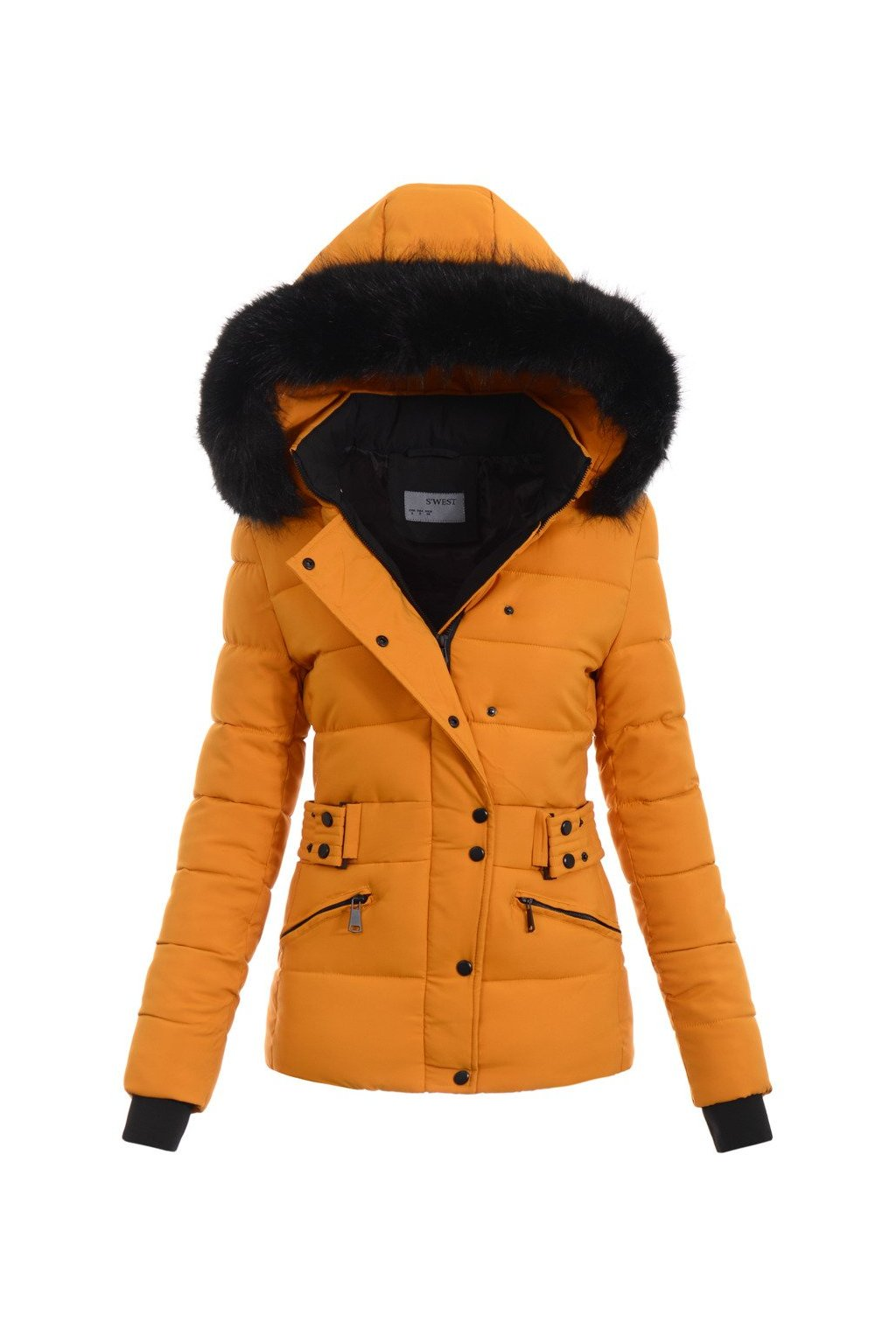 Dámska zimná bunda s kapucňou 4772 žltá