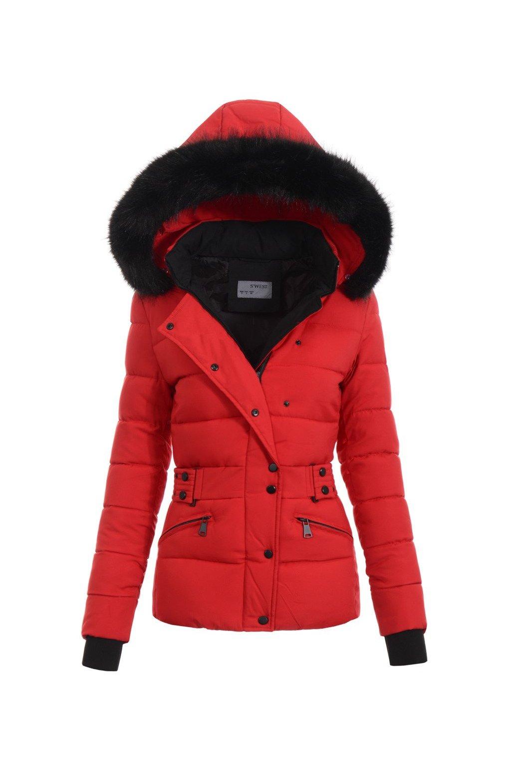 Dámska zimná bunda s kapucňou 4771 červená