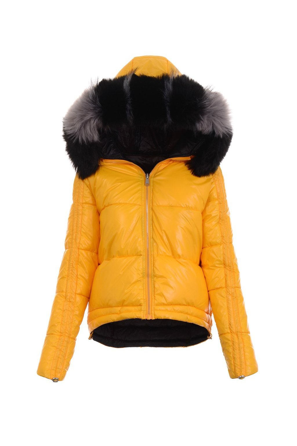 Dámska zimná bunda s kapucňou 4763 žltá