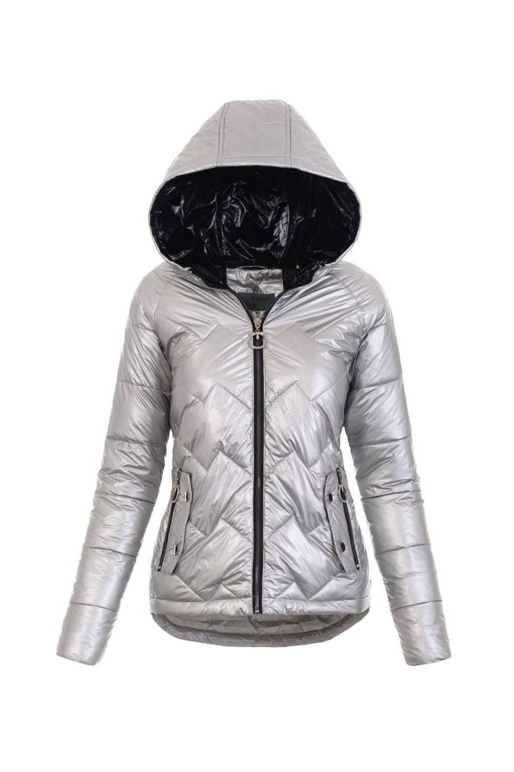 Dámska prechodná bunda s kapucňou 4887 strieborná