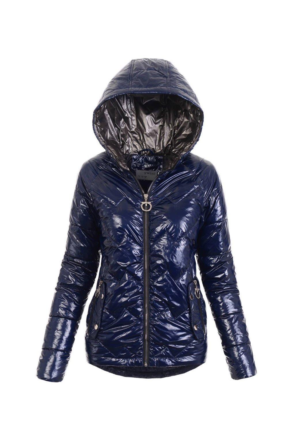 Dámska prechodná bunda s kapucňou 4885 modrá