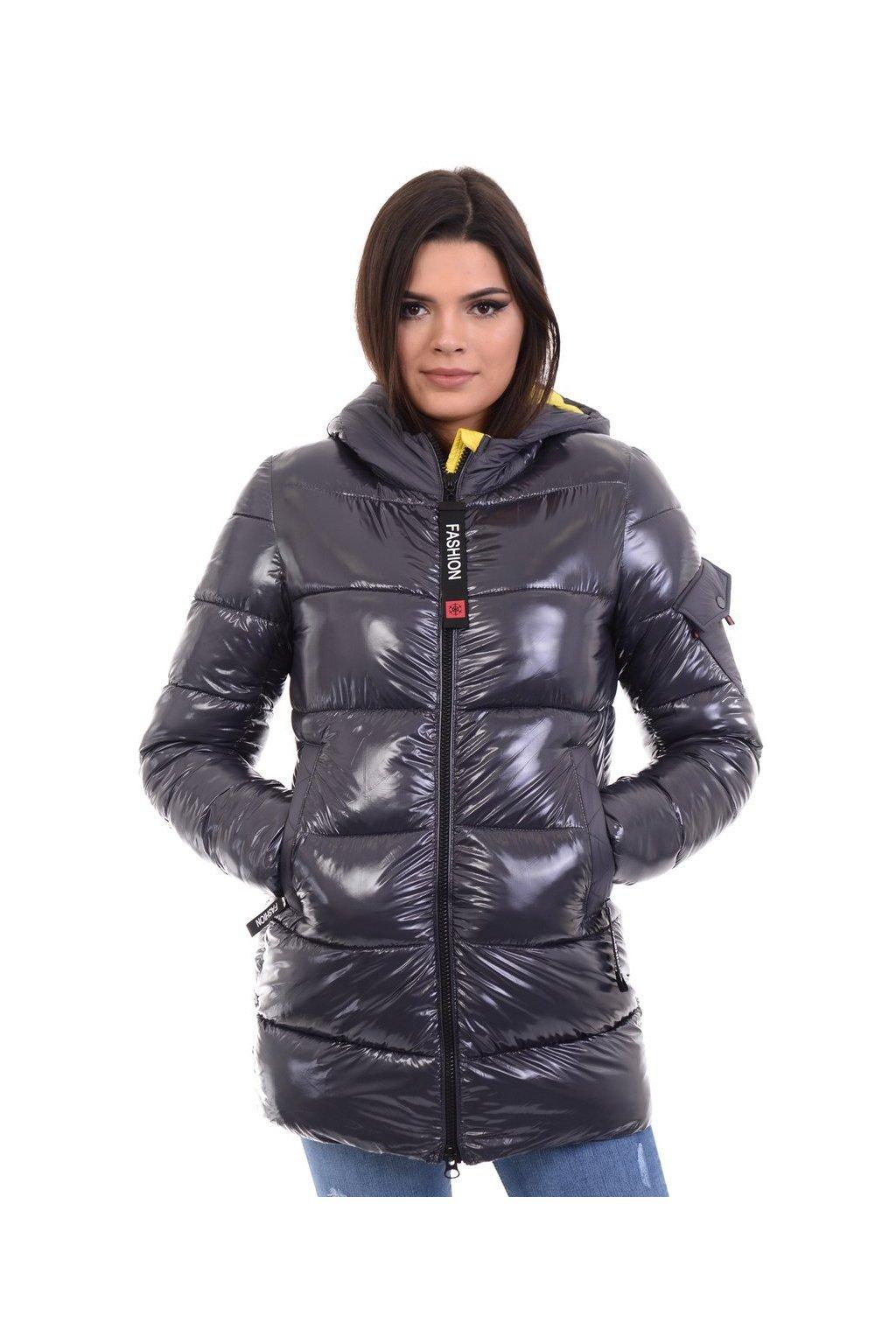 Dámska zimná bunda s kapucňou 4767 šedo-žltá