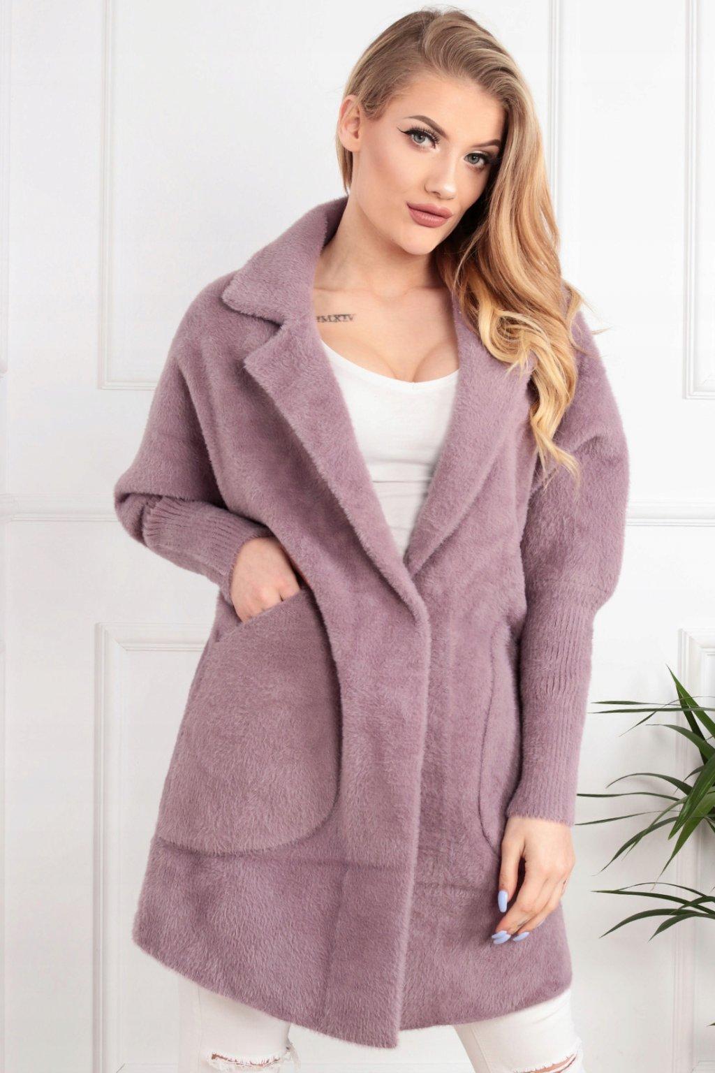 Dámsky kabát z alpaky Júlia bledofialový