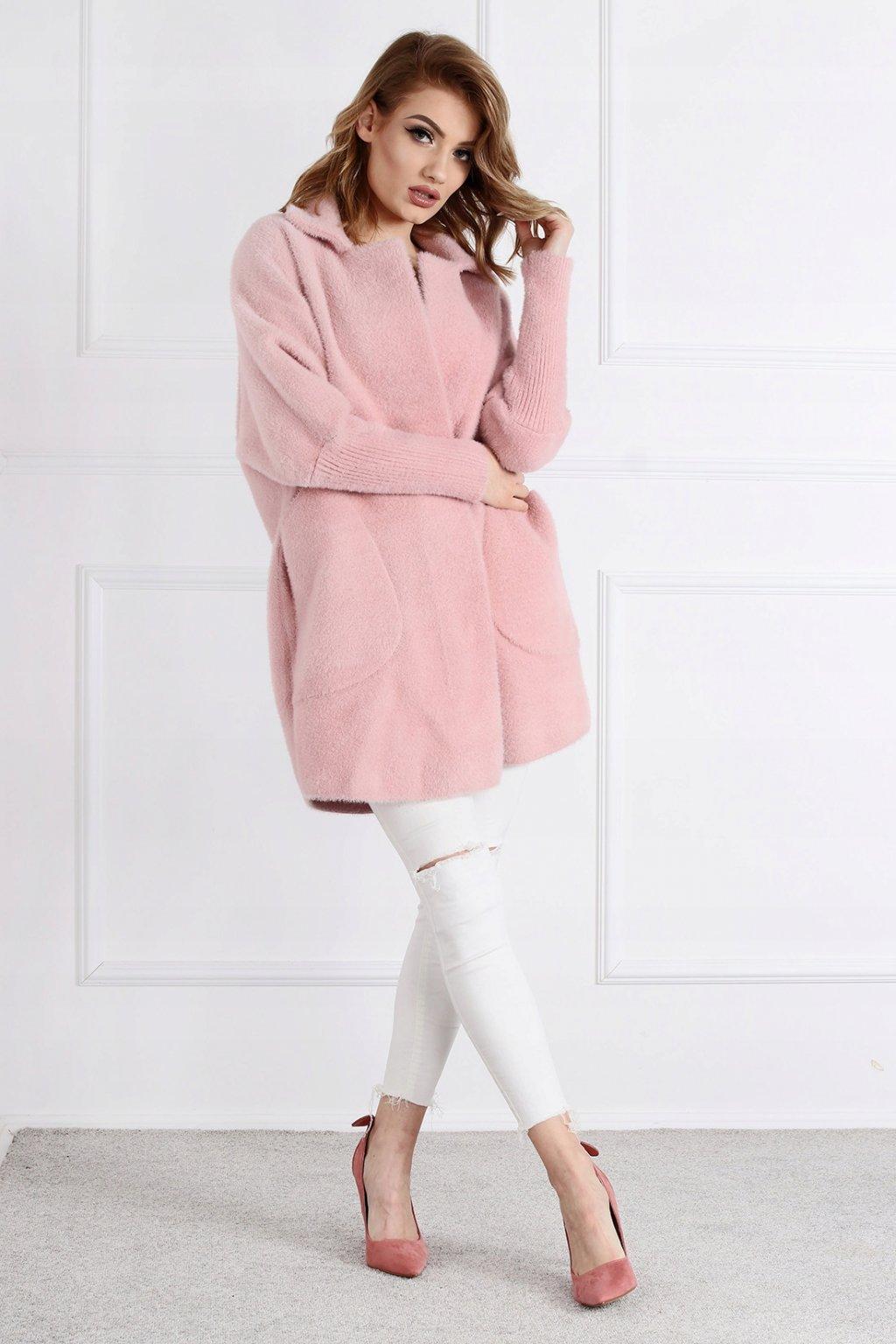 Dámsky kabát z alpaky Júlia bledoružový