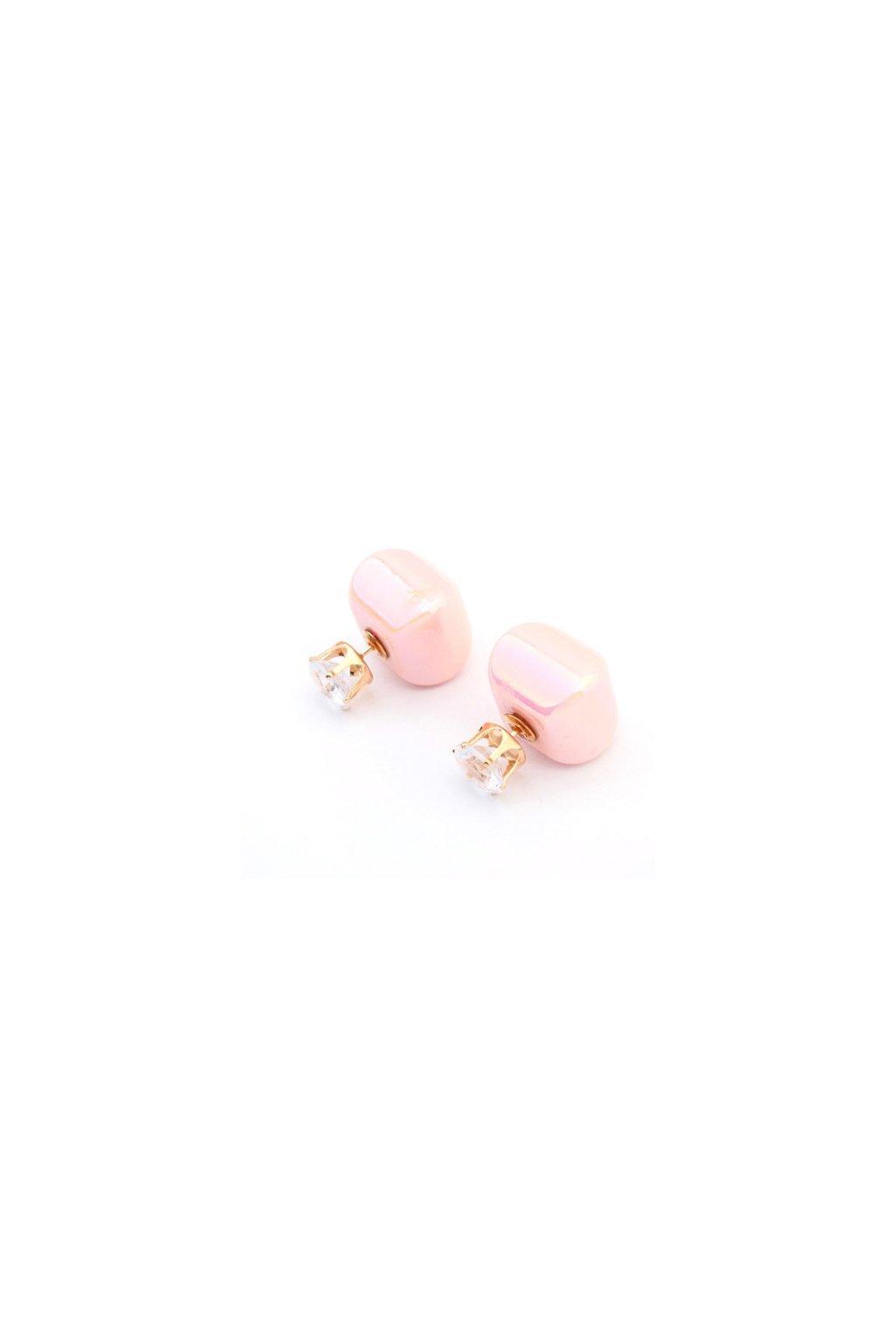 Obojstranné náušnice dior landryn ružové