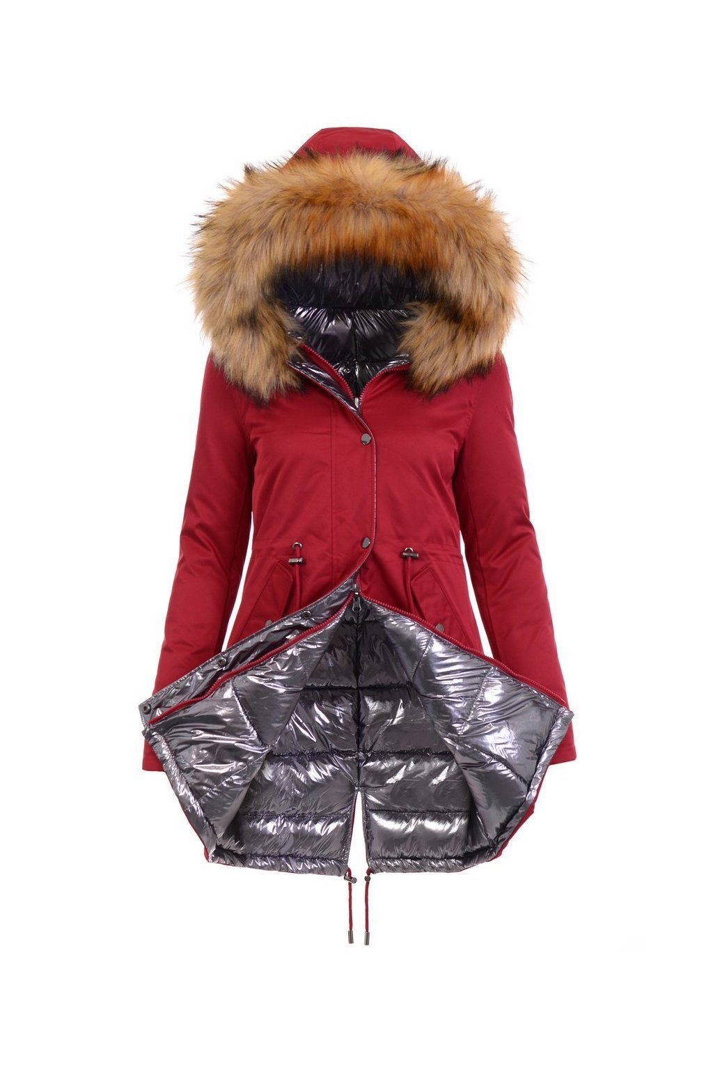 Obojstranná dámska zimná bunda 4842 červená