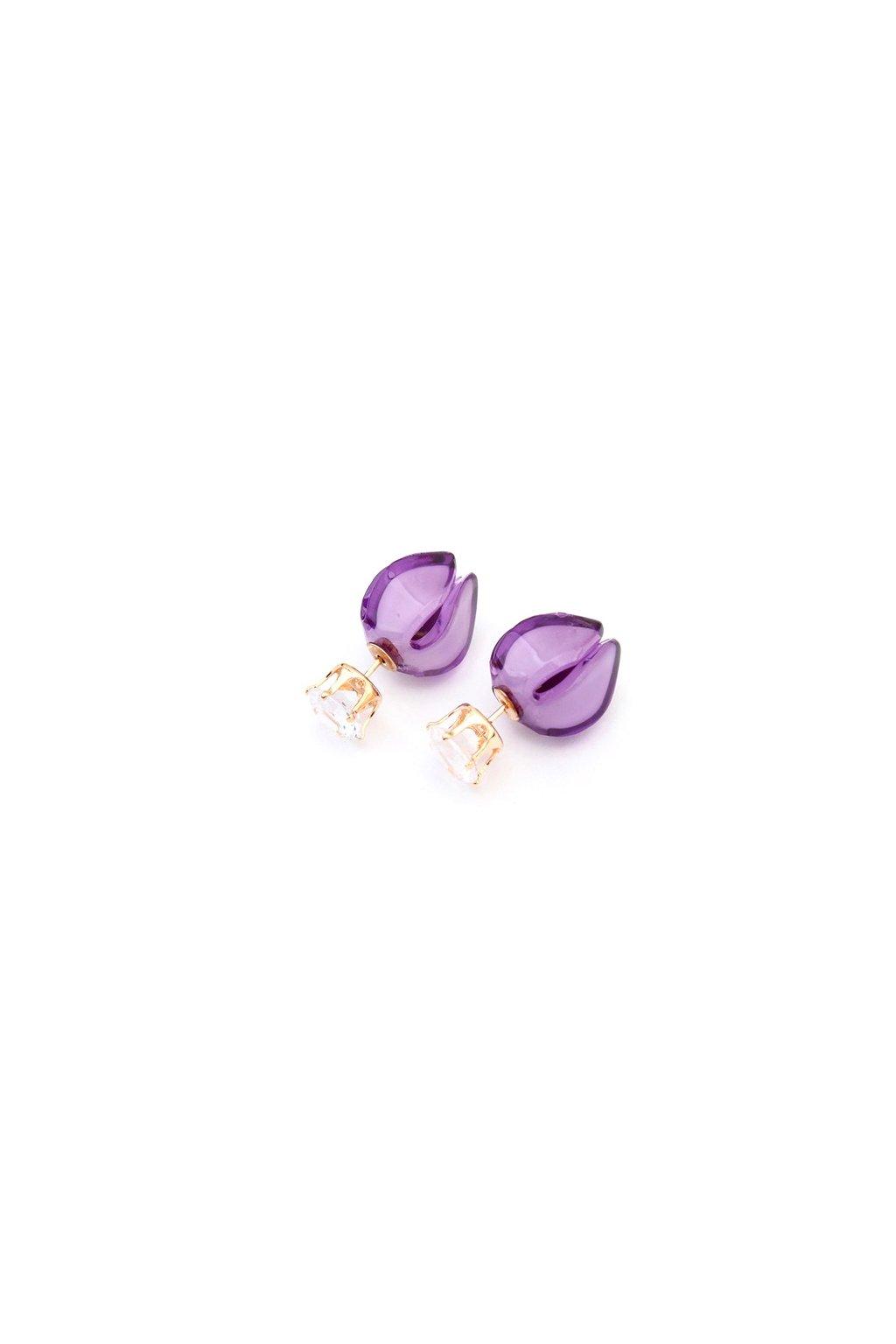 Obojstranné náušnice dior paki fialové
