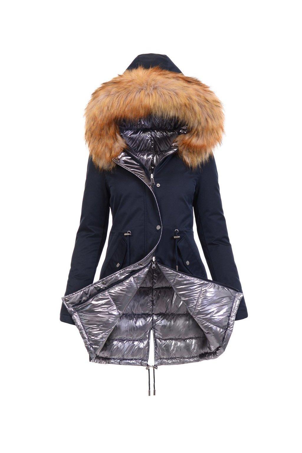 Obojstranná dámska zimná bunda 4840 modrá