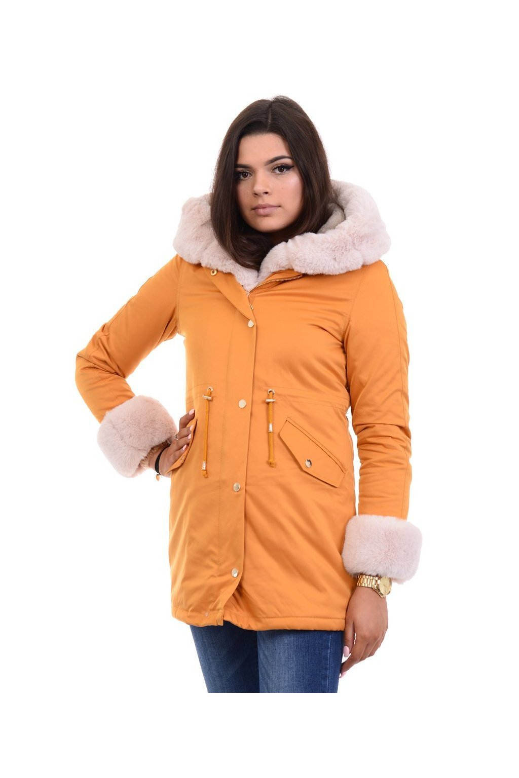 Dámska zimná bunda parka s kožušinou 4856 žltá