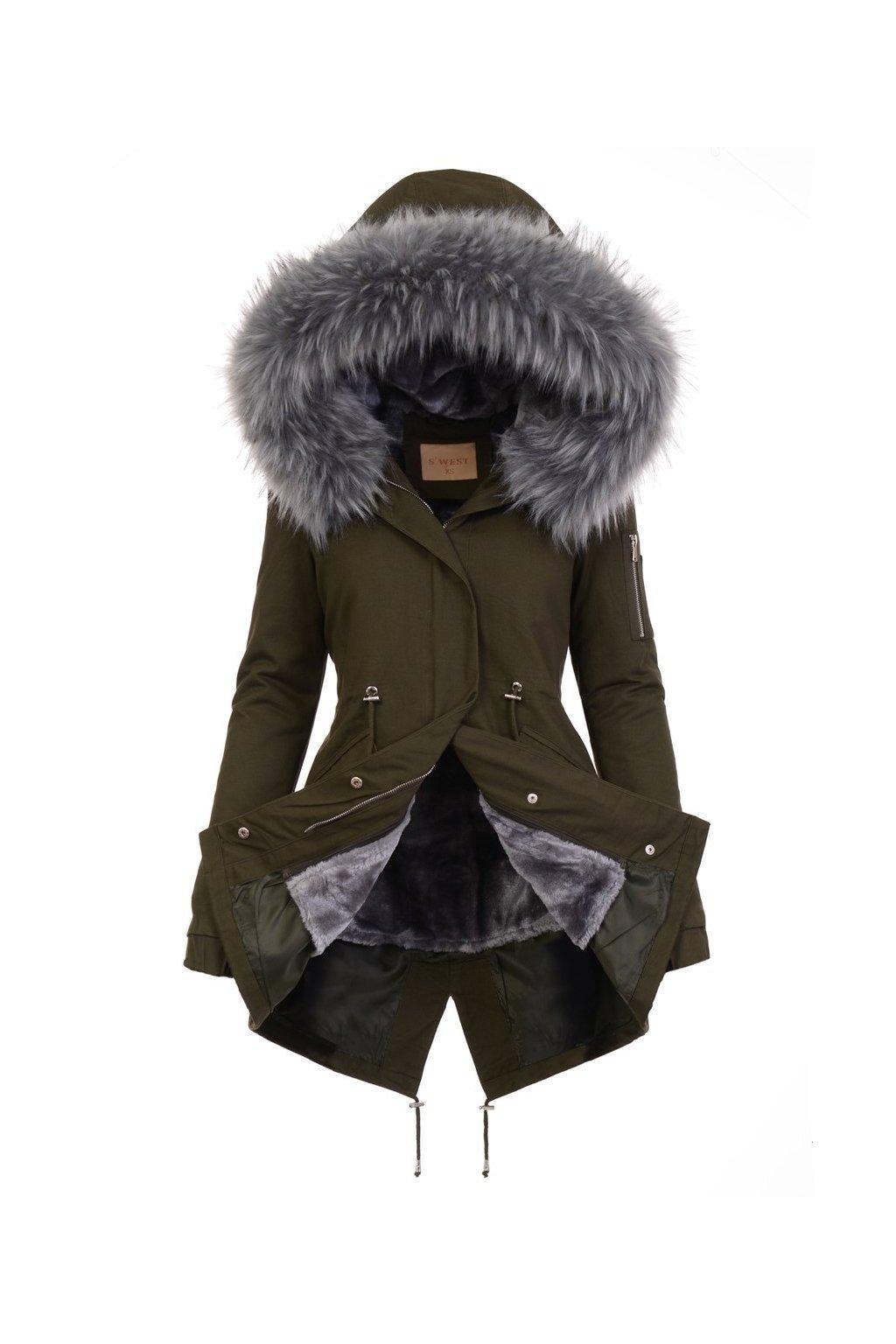 Dámska zimná bunda parka 2v1 5078 zelena