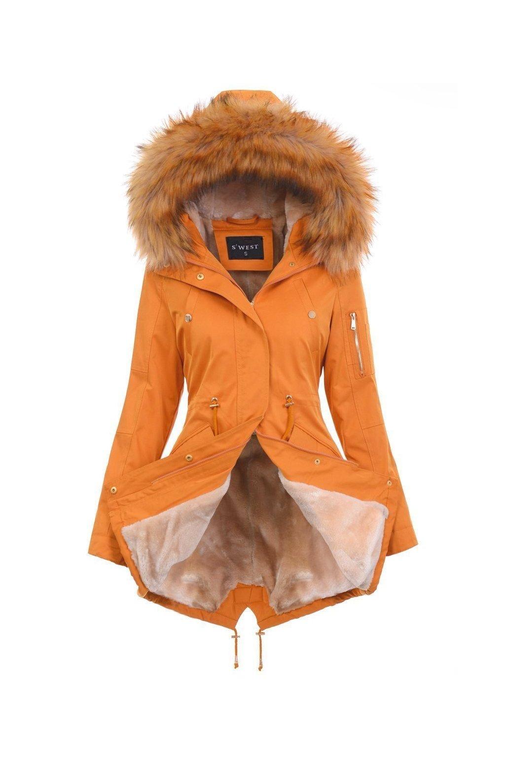 Dámska zimná bunda parka s kožušinou 4884 žltá