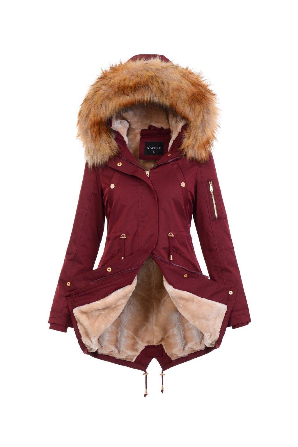 Dámska zimná bunda s kožušinou 4883 bordová