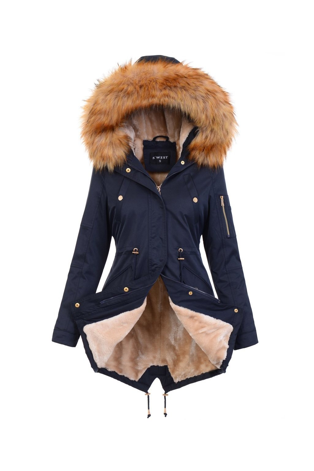 Dámska zimná bunda parka s kožušinou 4881 modrá