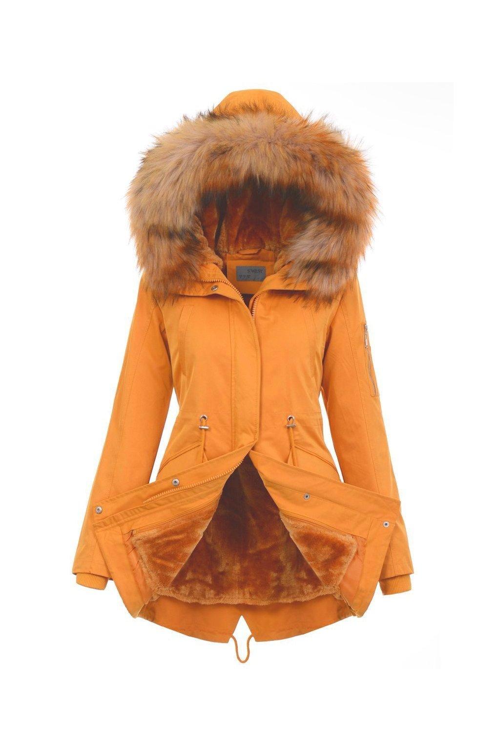 Dámska zimná bunda parka 2v1 4876 žltá