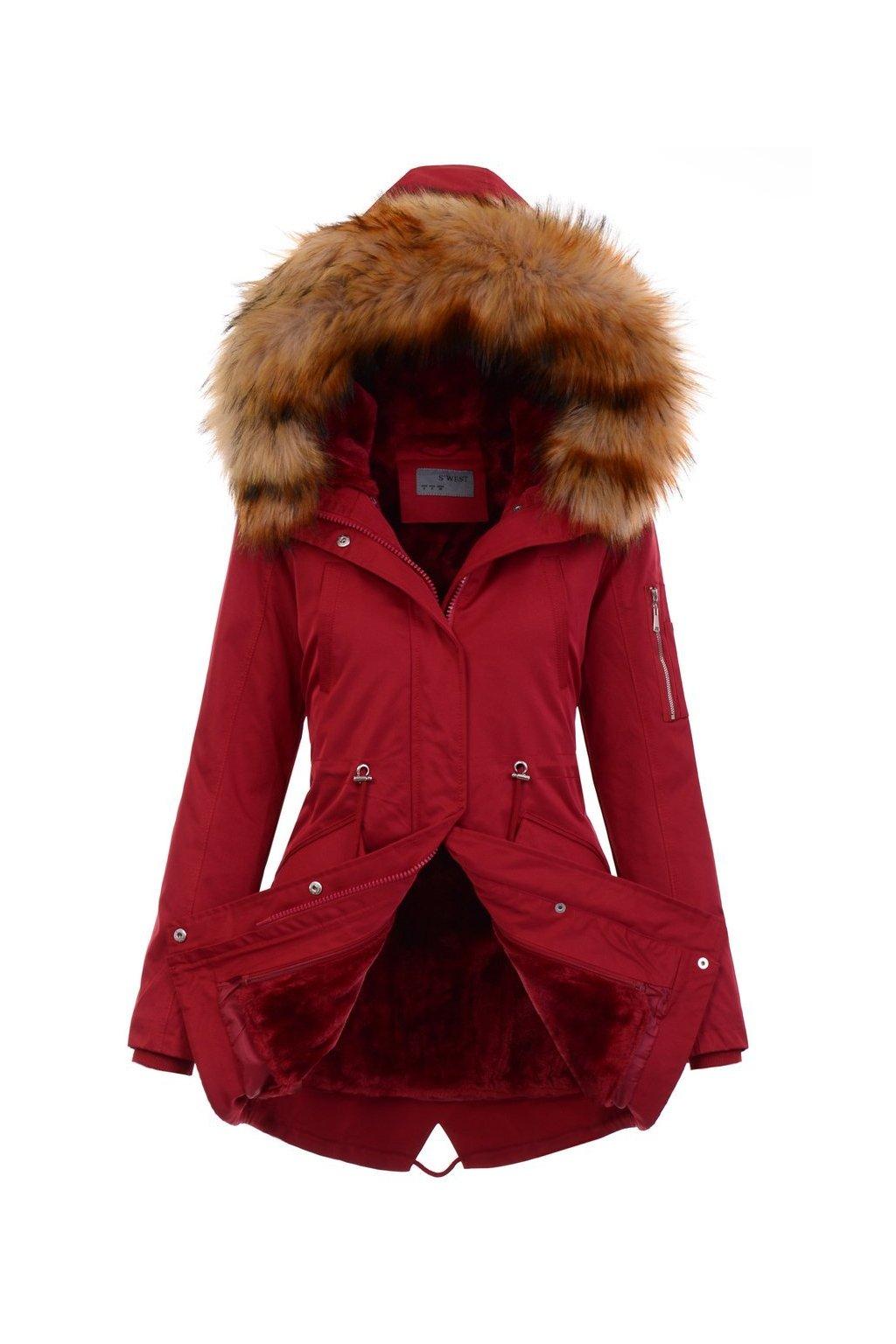 Dámska zimná bunda parka 2v1 4875 červená
