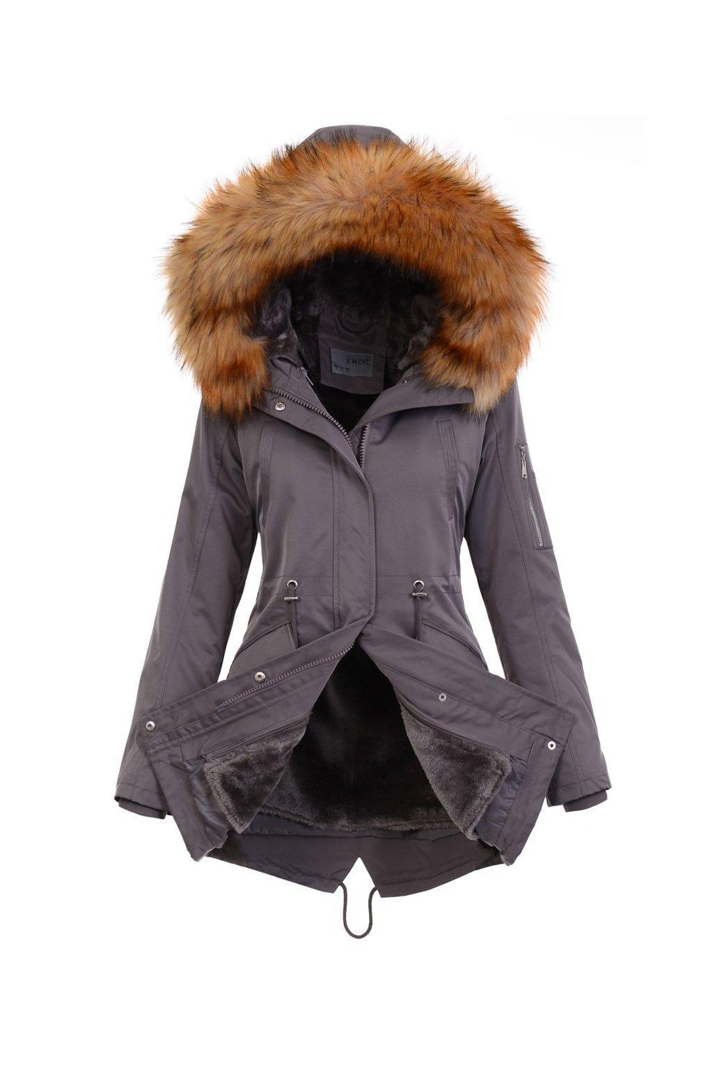 Dámska zimná bunda parka 2v1 4874 šedá