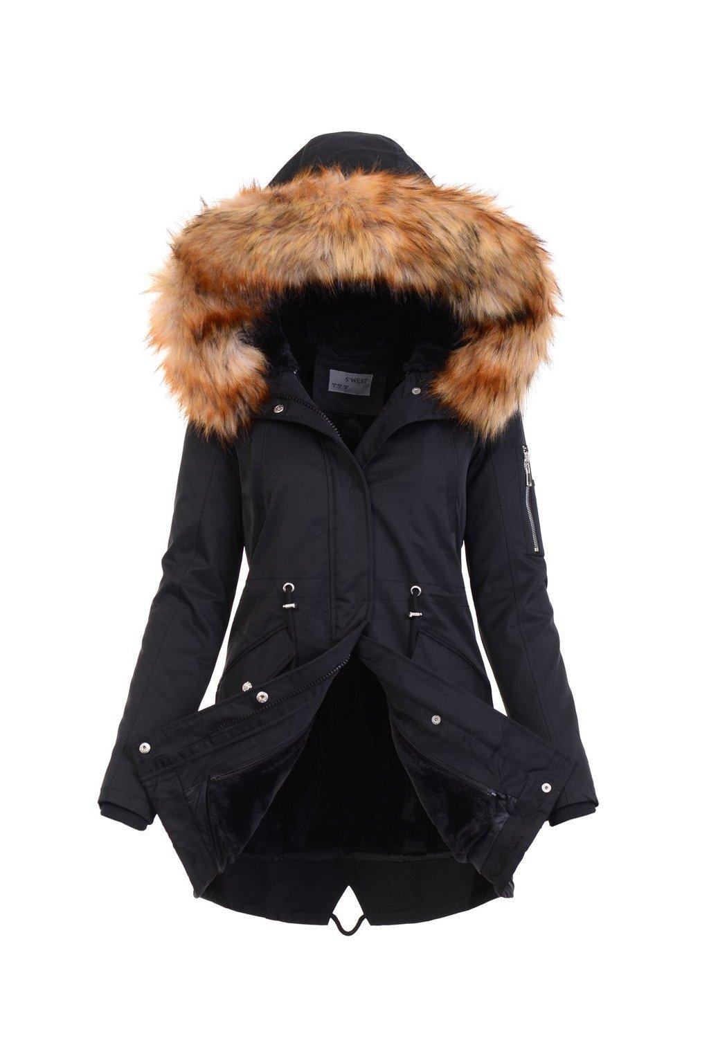 Dámska zimná bunda parka 2v1 4871 čierna