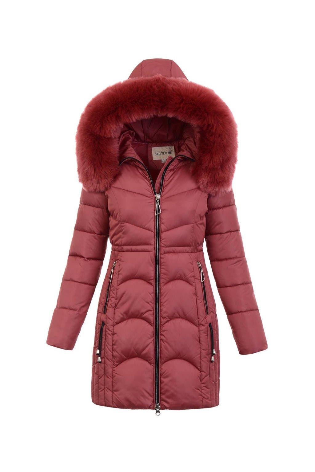 Dámska zimná bunda s kapucňou 5180 ružová