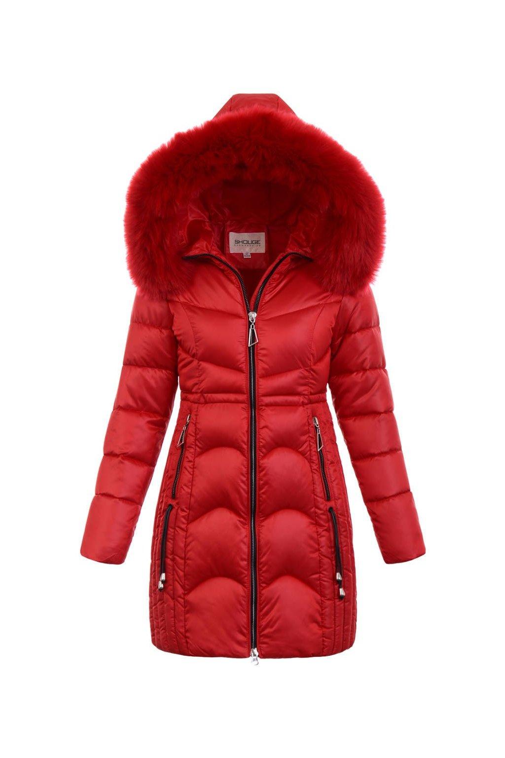Dámska zimná bunda s kapucňou 5179 červená