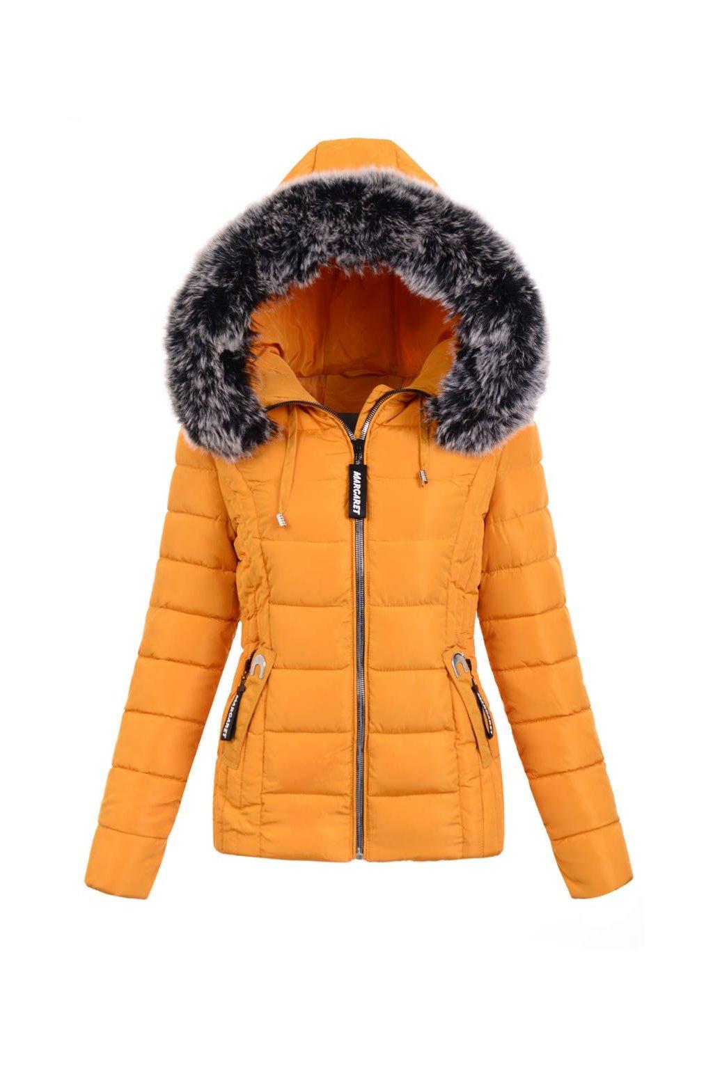 Dámska zimná bunda s kapucňou 5132 žltá