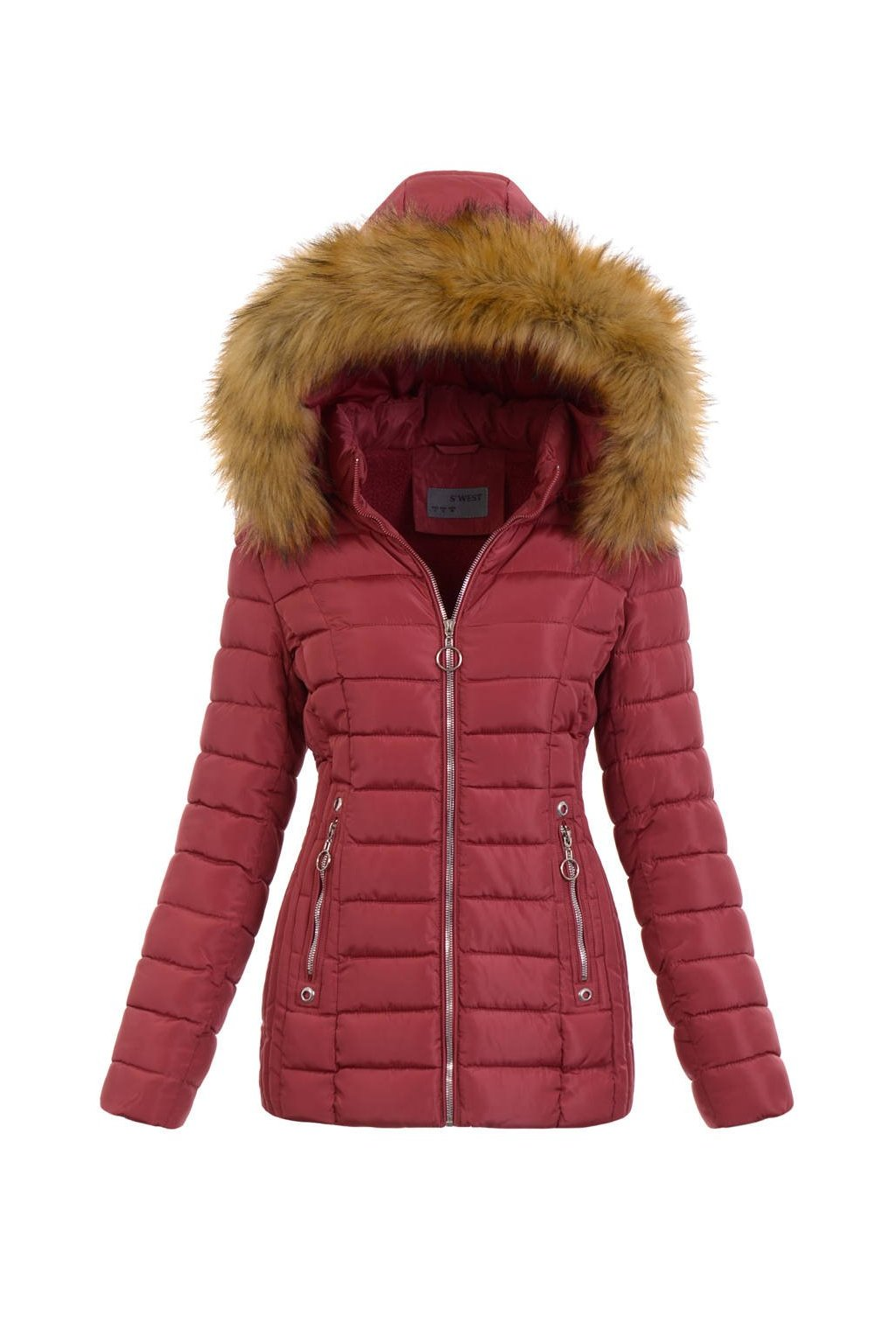 Dámska zimná bunda s kapucňou 5165 ružová