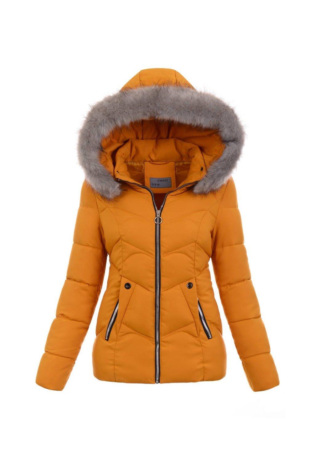 Dámska zimná bunda s kapucňou 5136 žltá