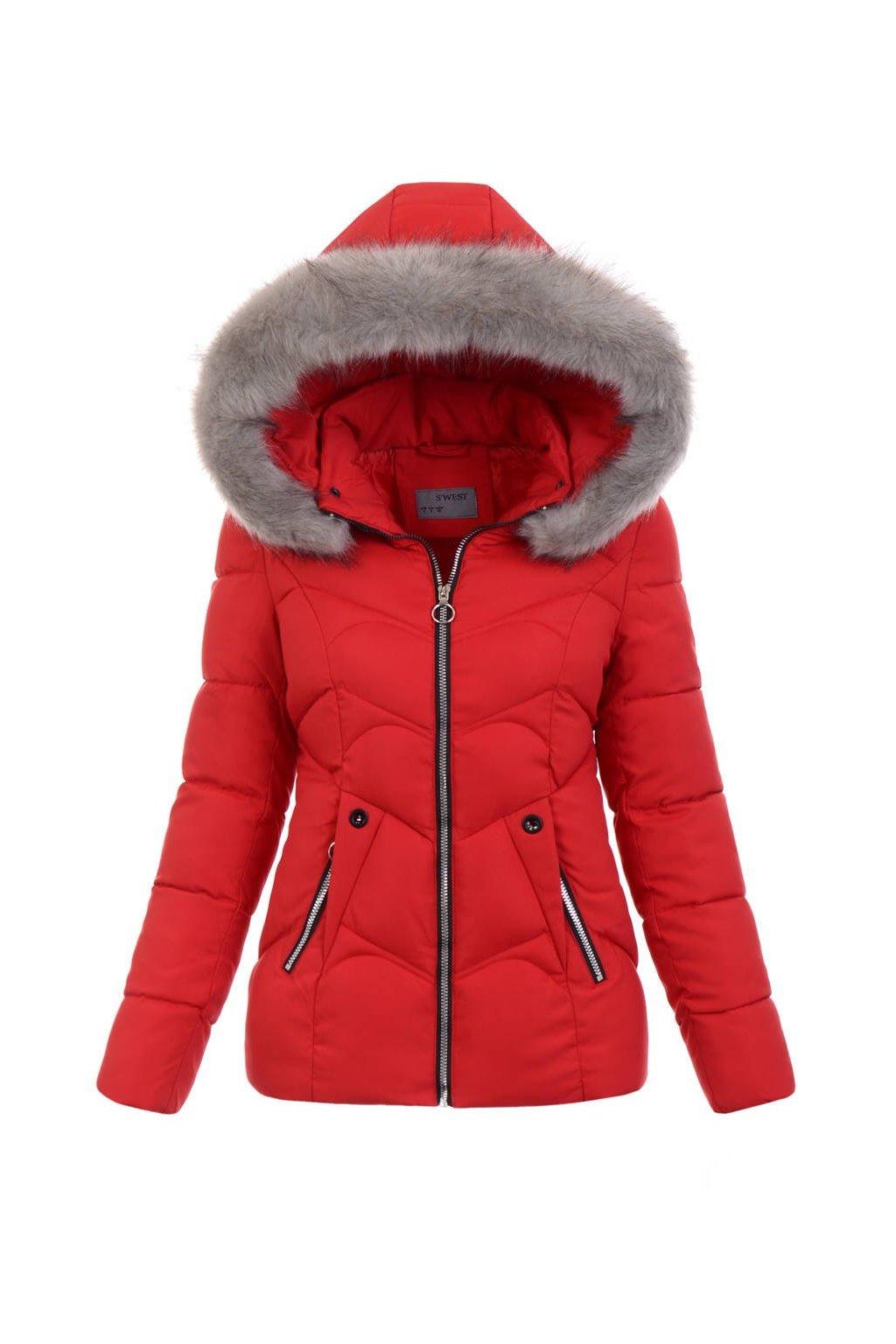 Dámska zimná bunda s kapucňou 5135 červená